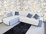 Banzaii Funda Cubre Chaise Longue Anti-Sucio, Antimanchas y Impermeable y antipelo Blanco 3 Plazas Chaise Derecho