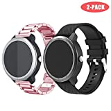 Junboer Straps for Garmin Vivoactive 3 Band, 20mm Quick Release Stainless Steel Metal Replacement Silicone Watch Strap for Wrist Bands for Garmin Vivoactive 3 Music/Forerunner 645 Music