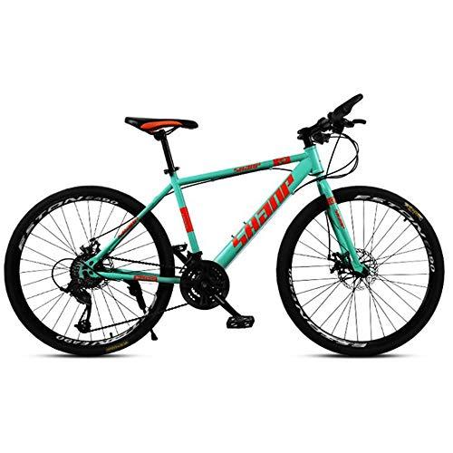 Bicicleta De Montaña Todoterreno Todoterreno De Acero Al Carbono De 21 Velocidades Y 26 Pulgadas para Hombres con Frenos De Disco Dobles 24speed Green