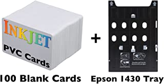 Inkjet PVC Card Kit for Epson Artisan 1430, Stylus Photo 1400, 1410, 1430W, 1500W, R800, R1800, R1900, R2000, R2880, SureColor P400 & P600 Includes Tray and 100 Inkjet PVC Cards
