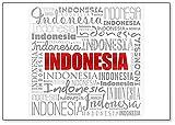 Imán para nevera con texto en inglés'Indonesia Word Cloud', ilustración de viaje