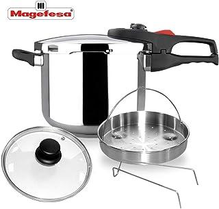 MAGEFESA PRACTIKA Plus COMPLET Olla a presión Super rápida de fácil Uso, Acero Inoxidable, Apta para cocinas inducción. Fondo Termo difusor, Pack Exclusivo Olla + CESTILLO + Tapa DE Cristal (6L)