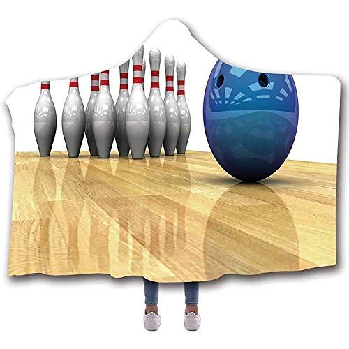 Duanrest Bowling Party Decoraties Lichte draagbare capuchondeken, levendige objecten bal en pennen op parketvloer afdrukken