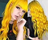 Womens Long Curly Wavy Yellow Wigs With Bangs Cosplay Custome Halloween Synthetic Natural Full Wigs with Wig Cap