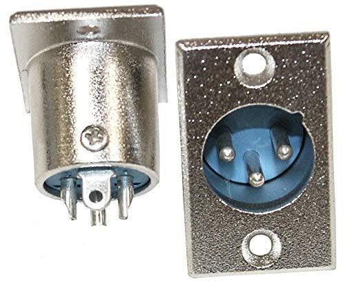 Aerzetix - Set van 2 mannelijke XLR 3-pins stekkeraansluitingen voor microfoon