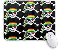 VAMIX マウスパッド 個性的 おしゃれ 柔軟 かわいい ゴム製裏面 ゲーミングマウスパッド PC ノートパソコン オフィス用 デスクマット 滑り止め 耐久性が良い おもしろいパターン (ゲイプライドレインボーLGBTスカルヘッド)