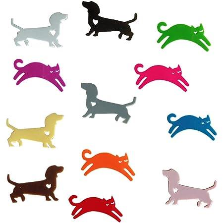 TINKSKY 12個 ガラスマーカー シャンパン 識別子 カクテル 猫 犬 シリコーン ドリンクチャーム