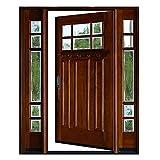 Craftsman 6 Lite Mahogany Wood Prehung Front Door and 18 inch Sidelites Exterior Door H (18'X36'X18'X80', Right-Hand)
