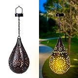 Lanterna Solare da Giardino appendere, Solari Lanterne da esterni, LED IP55 impermeabili Luci Solari Esterno da Metallo Lampada Decorativo per Giardino Patio Festa Natale