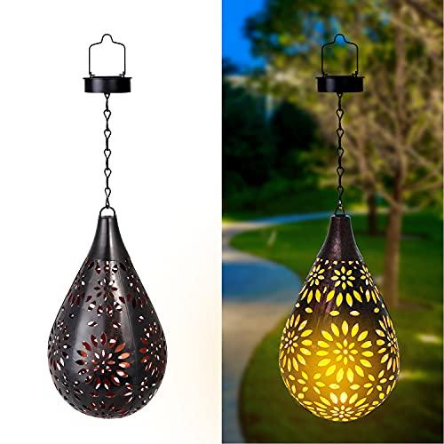 Solar Laterne für Außen Outdoor Garten Laterne, IP55 Wasserdicht LED Solarlampe Metall Dekolampe für Draussen, Garten, Terrasse, Hof