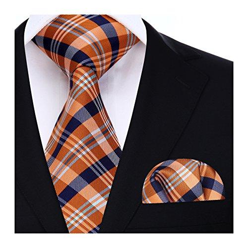 HISDERN Herren Krawatte Hochzeit Check Krawatte & Einstecktuch Set Orange und Blau