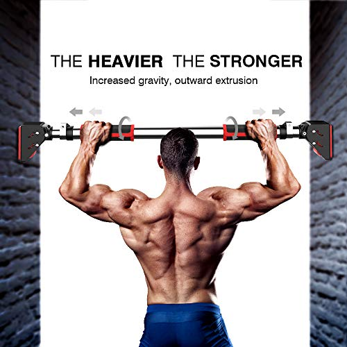 DEDAKJ Pull Up Bar, Locking Door Pullup Bar Chin Up Bar Home Gym Equipment 28.4 to 37.8 Inches Adjustable Width - 660 LBS