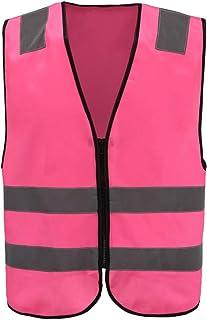 Pink horse riding hi vis Adult High Visibility Hi Viz Vest Waistcoat Workmans Safety hi vis vest(XXS-XXL) (XL, PINK)
