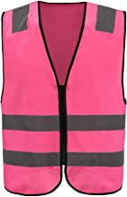A-SAFETY 360° Visibility Yellow Vest, Safety Jacket for Outdoor Working, Pink, Medium