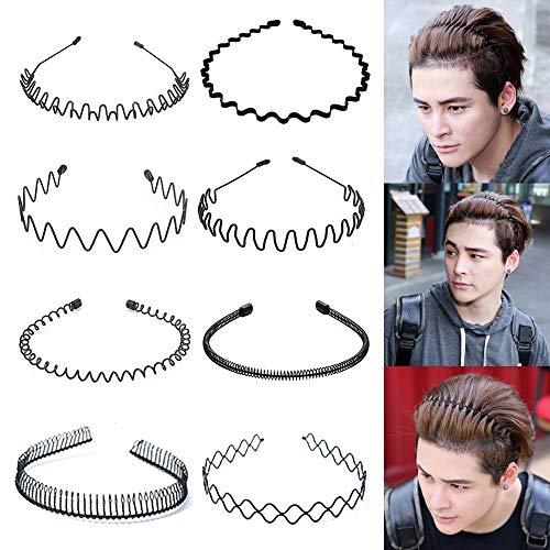 Metall Haarband, 8 Stück Unisex Schwarz Spring Wave Haarband, Rutschfestes Elastisches Stirnband Haarbänder Haarreifen Haarschmuck Stirnband Zubehör für Outdoor Sports Yoga