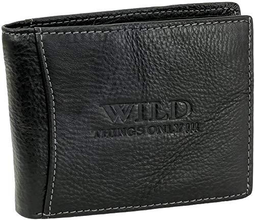 Herren Geldbörse Geldbeutel Portemonnaie WILD THINGS ONLY !!! schwarz Leder