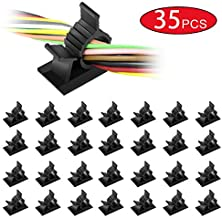 NICEKEY Adjustable Cable Clips with Strong Adhesive Nylon Cable Clamps Management Drop Wire Holder for Car, Home and Office (35 PC, Black)