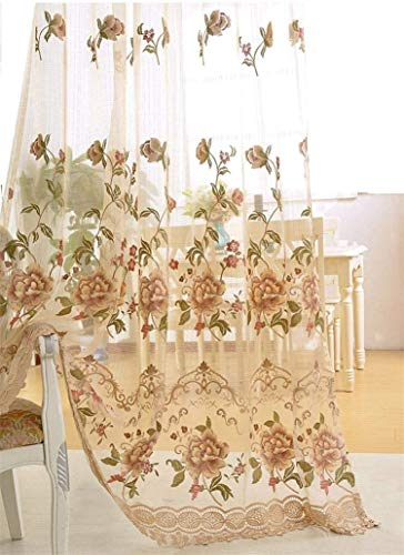 Tiyana Luxury Embroidered Sheer Curtain for Living Room 84 inch Length Custom Romantic Elegant Luxurious Delicate Embroidery Drape Window Dressing Sheer Bedroom Rod Pocket Top 1 Panel 40x84 inch