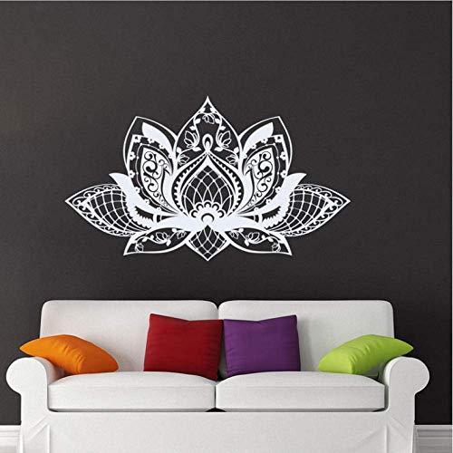 Mandala De Flores De Loto Yoga Studio Vinilo Adhesivo De Pared Decoración Para El Hogar Para Sala De Estar Calcomanías De Dormitorio Mural Extraíble Bohemio 65X38 Cm