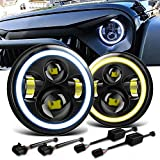 QuakeWorld DOT Approved Pair 60W 7' Inch Round Halo LED Projector Headlights with White DRL High Low Beam For 1997-2017...