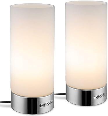 """Monzana Set de 2 lámparas""""Golau"""" de mesa de lectura con base táctil 3 modos de iluminación 25W luz interior moderno decoración"""