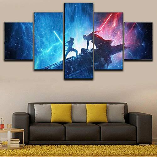 Cuadros Lienzos Salon Enmarcado Star Wars Rey Vs Kylo Duel Decoración para El Hogar Arte De La Pared Panel De 5 Piezas Lienzo HD Suspensión Directa-200 * 100Cm