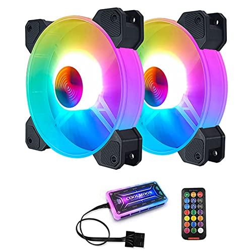 Computadora Escritorio PC LED RGB Fan Refrigerador, Alojamiento Ventilador Caja 120 Mm 6 Pines, Con...