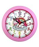 Kiddus Reloj Pedagógico para Niñas y Niños. De Pared, Analógico. Aprende la Hora con Nuestro Fácil Sistema Time Teacher. Ejercicios Incluídos. Mecanismo Silencioso. KI50121 Unicorn UK