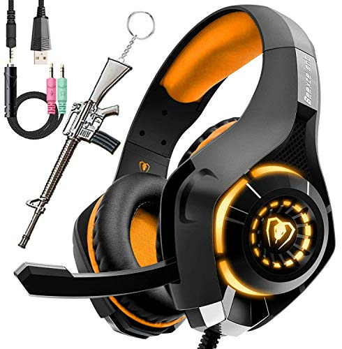 Pro Gaming Headset for PC PS4 Xbox One Bass Surround Sound Over-Ear Headphones with Mic/LED Light/Soft Memory Earmuffs for Computer Laptop Switch Games Kids Boys Teens Gifts