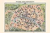 Vintage Paris Map Monuments Poster Home Decor Print 24x36 inches