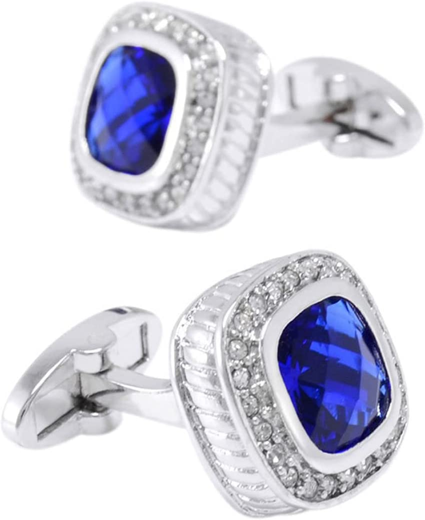 BO LAI DE Men's Cufflinks Blue Crystal Gem Cuff Links Suitable for Business Events, Meetings, Dances, Weddings, Tuxedos, Formal Shirts, with Gift Boxes