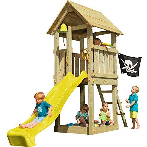 Blue Rabbit 2.0 Spielturm KIOSK mit Rutsche Kletterturm Glocke Sandkasten Lenkrad Piratenflagge Teleskop und Holzdach (Podesthöhe 1,20 m, Rutsche GELB)