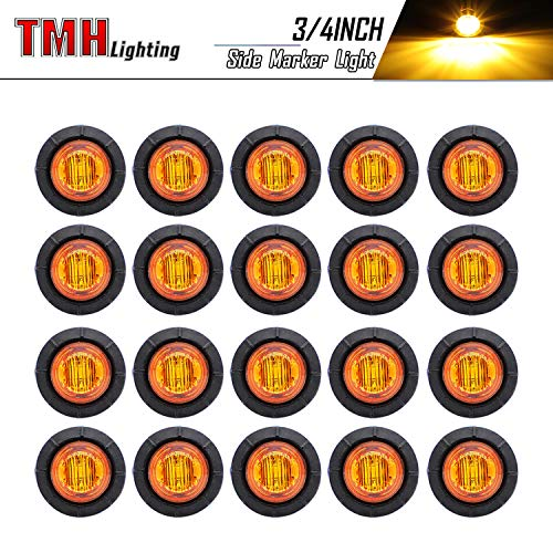 ( Pack of 20 ) TMH 3/4 Inch Mount Amber LED Clearance Bullet Marker lights, Side LED marker lights for trailer Truck RV Car Bus Van