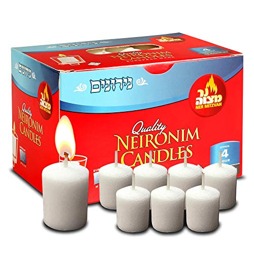 4 Hour Neironim Candles – Shabbat and Votive Wax Candle – 72 Count – by Ner Mitzvah