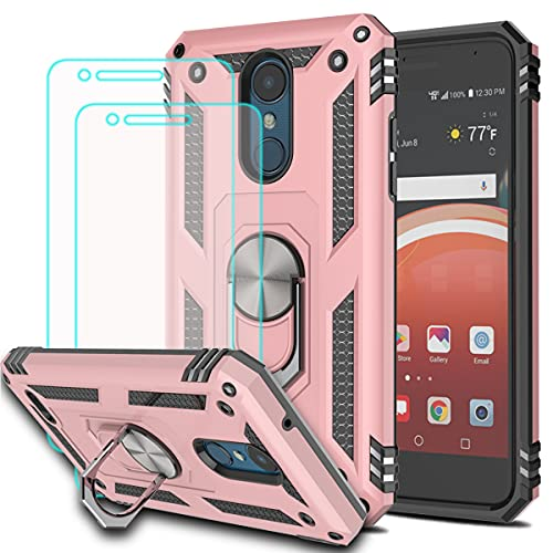 KaiMai Compatible for LG Aristo 3/Tribute Empire/Rebel 4 LTE/Aristo 2 Plus/Phoenix 4/Tribute Dynasty/Zone 4 Case with HD Screen Protector(2Pack) 360 Degree Rotating Ring & Case for Aristo 2-Rose Gold
