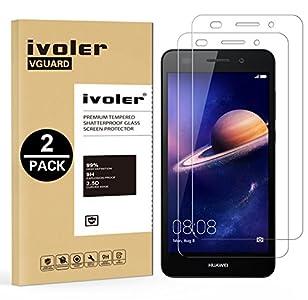 ivoler [2 Unidades] Protector de Pantalla para Huawei Y6 II / Y6 2, Cristal Vidrio Templado Premium [9H Dureza] [Ultra Fina 0,3mm] [2.5D Round Edge]