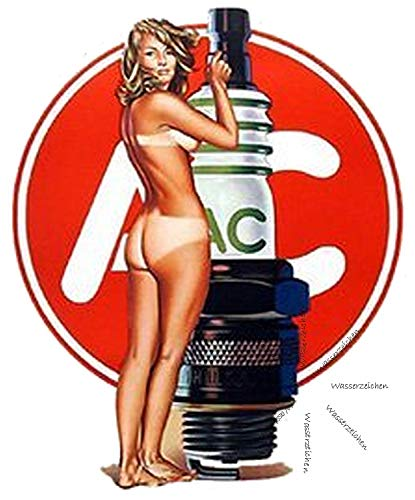Sticker-Designs 12cm! Klebe-Folie Wetterfest Made-IN-Germany: Pinup P091 sexy nackt braun AC Zündkerze P084 UV&Waschanlagenfest Auto-Aufkleber Profi-Qualität!
