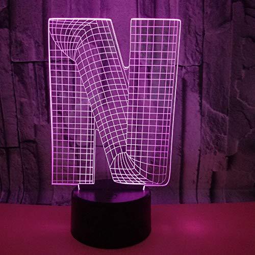 3D Veilleuse Enfant LED Lampe de Chevet Optiques Illusions Lampe de Nuit 7 Couleurs Ajustables Câble USB Cadeau Jouets (Lettre N),Interrupteur Tactile