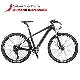 SAVADECK DECK300 Carbon Fiber Mountain Bike 26'/27.5'/29' Complete Hard Tail MTB Bicycle 30 Speed M6000 DEORE Group Set (Black Green, 27.5' 19')