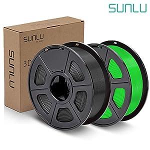 SUNLU PLA Plus Filament 1.75mm 3D Printer 3D Pens 2KG PLA+ Filament +/- 0.02 mm, Black+Green