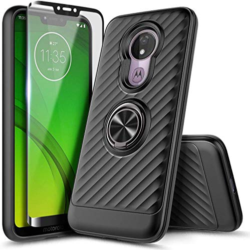 Moto G7 Play Case, T-Mobile Revvlry/Moto G7 Optimo (XT1952DL) Case with Tempered Glass Screen Protector (Full Coverage), NageBee Ring Kickstand 360 Degree Rotating Shockproof Hybrid Case -Black