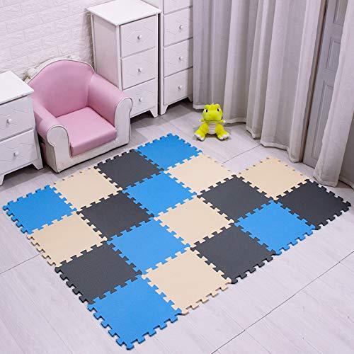 MHEHN 18 tabletas Alfombra Puzzle Bebe/Alfombra Infantil/Puzzle Suelo Bebe/Suelo Goma eva. Tamaño 1.62 Cuadrado.azul-beige-gris-071012