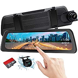 "PORMIDO Mirror Dash Cam Backup Camera with 9.88"" Full HD Touch Screen Car Dash Camera Stream Media."