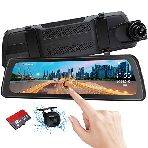 Mirror Dash Cam Backup Camera 9.88' Full HD Touch Screen Car Dash Camera Stream Media Dual Lens...