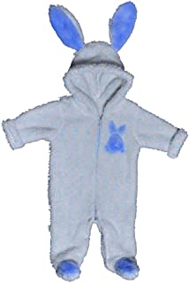 Baby Shoora fur baby bodysuit embroidered rabbit for boys Blue-3-6Month
