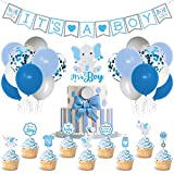 Faisdodo Blue Elephant It's a Boy Baby Shower Decor Blue and Gray Banner Cake Topper Latex Balloons Cupcake Toppers Set for Blue Little Peanut Welcome Baby Boys First Birthday Party Supplies