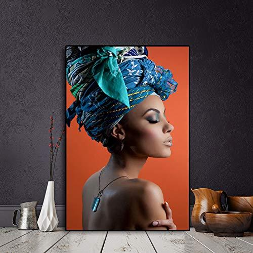 GUDOJK muurschilderij vrouw hoofdband portrett Nordic canvas schilderij poster en afdrukken muurkunst afbeelding voor de woonkamer 50x70cm(20x28inch)
