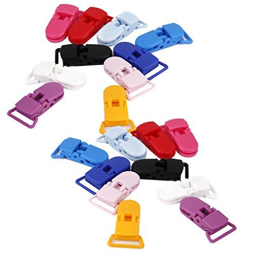 lahomia 20x Clips de Chupete de Plástico de Colores Surtidos Clips de Chupete Soporte de Juguetes DIY