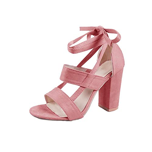 bc82581e1e5 Syktkmx Womens Strappy Lace Up Pumps Peep Toe Ankle Wrap High Chunky Block  Heel Sandals