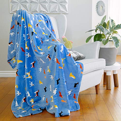 AVAFORT Velvet Plush Home Fleece Throw Blanket for Couch Sofa Bed, Warm Elegant Fuzzy Flannel Blanket for Kid Baby Adults or Pet, Lightweight Soft Cozy Warm Luxury Microfiber Blankets (Dog-Azure Blue)